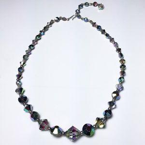 Swarovski Jewelry - Vintage 50s AB Blk Diamond Crystal Glass Necklace